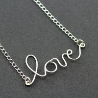 """Love Necklace : Dear Diary... Tiny Delicate Silver Plated Love Charm Necklace, 17"""", Handwritten, Cursive"""