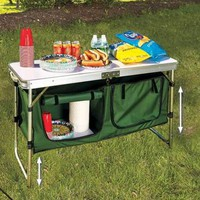 Portable Camping Kitchen Foldable Table Picnic Beach Travel Food Prep / Storage