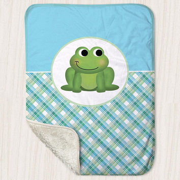 "Frog Sherpa Fleece Baby Blanket - Green Blue Plaid Pattern cute Happy Frog - Size 30"" x 40"" - Made to Order"
