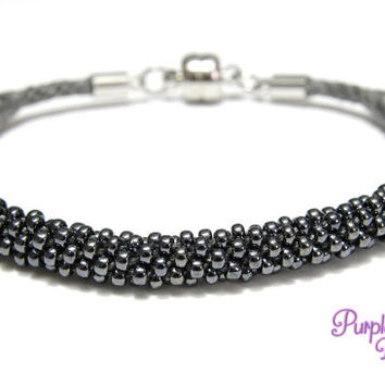 MAGNOLIA Beaded Kumihimo Bracelet, Braided Cotton Bracelet with Seed Beads - Gunmetal