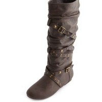 Studded Strappy Flat Boot by Charlotte Russe - Brown