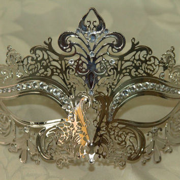 Beautiful Silver Crown Masquerade Laser Cut Mask with Rhinestones