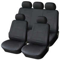Adeco 9-Piece Luxury Leatherette Car Vehicle Protective Seat Covers, Universal Fit, Black Color