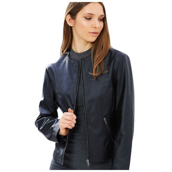 Vegan Leather Collarless Moto Jacket - 'Mary'. Shop Online.