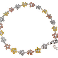 TRICOLOR 8MM SILVER 925 HAWAIIAN PLUMERIA FLOWER ANKLET 9 1/2""