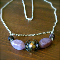 FREE SHIPPING Purple Fashion Necklace with Silver Chain - beaded sparkle lavender black unique beads bling