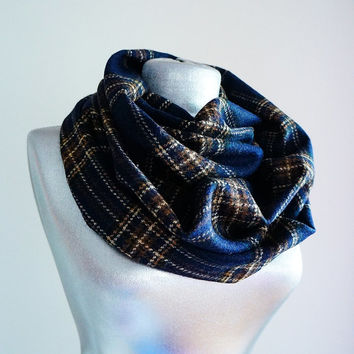 Handmade Plaid Infinity Scarf - Wool - Navy Blue Brown Beige - Winter Autumn Scarf - Men Unisex Scarf