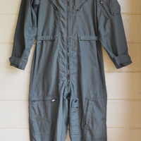 Vintage Military Issue Sage Green Flyers Coveralls Air Force Flight Suit Mens 40 Regular