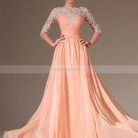 Appliqued Sheer Half Sleeved Chiffon A Line Prom Dress