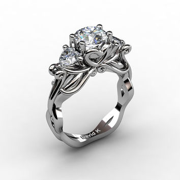 Nature Fairy 14K White Gold 1.0 Ct Round and Heart White Sapphire Three Stone Engagement Ring R1082-14KWGWS