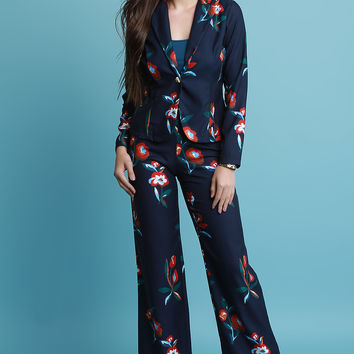 Textured Floral Pants Suit Set