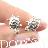 Turtle Tortoise Sea Animal Small Stud Earrings in Silver