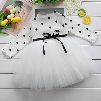 Long sleeve Baby Girl Dress Bow Dot Tutu Party Dresses / NB-3T / 3 color choices