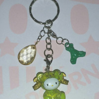 Kawaii HELLO KITTY Glitter Bear Swarovski Crystal Keychain Bag Purse Charms Vintage Upcycled Jewelry Cute Key Chain Key Ring BFF Girl Gift