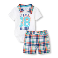 plaid polo bodysuit and shorts set | US Store