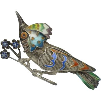Antique SILVER Chinese Export Cloisonne Bird Brooch