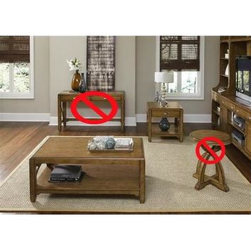 Liberty Furniture Town & Country 3 Piece Occasional Set in Distressed Sandstone w White