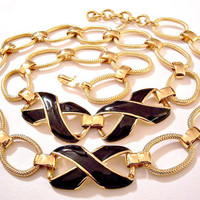 Monet Black Pinpoint Necklace Gold Tone Vintage Crossed Wide Band Accents Oval Large Chain Links Adjustable Hook Closure Hangtag
