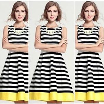 Fashion Stylish Women Sleeveless Stripe #G dress Elengant Evening Party Dress