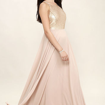 Cotillion Matte Gold Sequin Dress