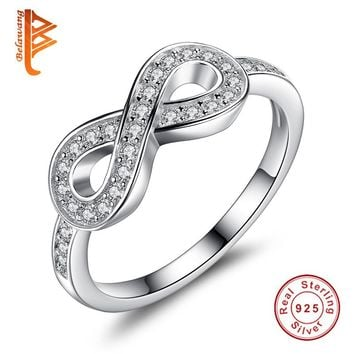 BELAWANG Original Jewelry Genuine 925 Sterling Silver 8-Shaped Wedding Jewelry Finger Rings For Women Brand Lady Infinity Ring