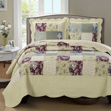 Tania Oversized Coverlet Set Floral Patchwork Print