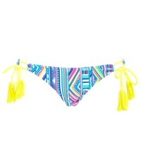Tribal Print Fringe String Bikini Bottoms