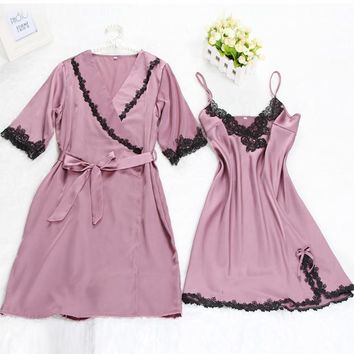 Women Sexy Faux Silk Satin Robe Set: Half Sleeve Bathrobe+V-neck Nightdress Elegant Night Wear Soft Sleep Wear Fahion Home Wear