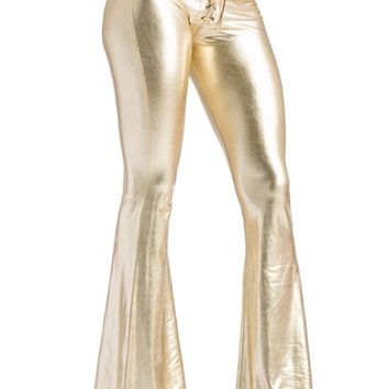 PINK QUEEN New Fashion Women's Sexy Sequins Bootleg Pants Sexy Slim Pants Bright Shine Gold Long Flare Pant Trousers