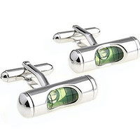 Green Bubble Level Cufflinks - Groomsmen Gift - Men's Jewelry - Gift Box Included