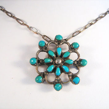 Vintage Turquoise Sterling Silver Pendant/Brooch Necklace