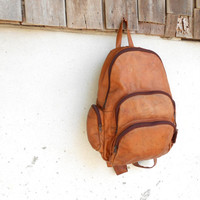 Vintage Brown Leather Backpack // School Backpack // Day Pack //  Large