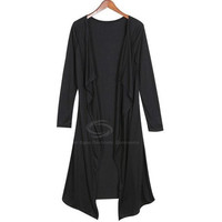 Collarless Loose Fit Long Sleeve Knit Cardigan Coat