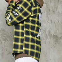 Patched Flannel Shirt