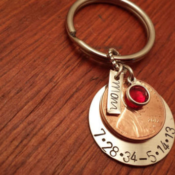 Hand stamped Remembrance penny Key chain with dates.