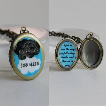 The Fault in our Stars with quote--locket w/ chain