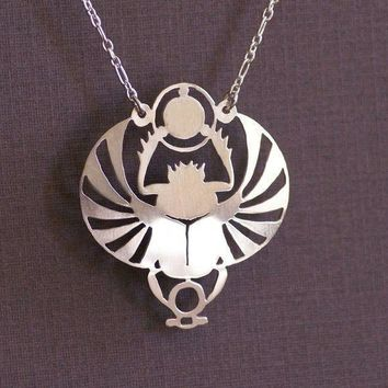 Handcut Winged Scarab Pendant Necklace