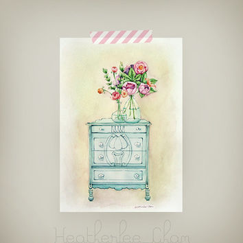 Flower Watercolor Painting Original - Vintage Blue Dresser - Glass Vase with Flowers - 5x7