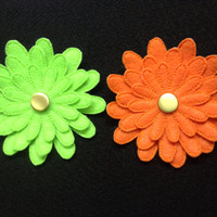 Felt Daisy Flower Pin in Lime Green OR Bright Orange.