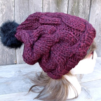 Women's Cable Knit Hat with Black Fur Pom Pom, Burgundy Hat, Women's Hat, Women's Slouchy Beanie, Chunky Hat, Maroon, Dark Red, Red