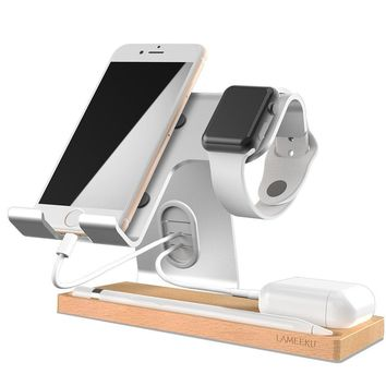Cell Phone Stand, LAMEEKU Apple Watch Stand : Dock Cradle Holder For Switch, Apple Watch, all Smartphone, iPhone X 6 6s 7 8 Plus, Airpods Apple Pencil iPad and Tablet - Silver