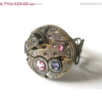 Halloween Sale Steampunk Ring Victorian Jewellery Vintage Watch Movement Antique Gold Celtic Heart Filigree ring Sapphire Amethyst Rose Swar