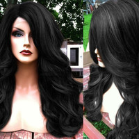 "U.S.A. // 20"" Long BABY HAIR Wavy Off Black Heat Safe LACE Front & Part Curly Wig"