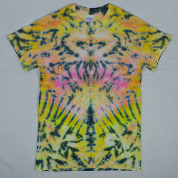 Tie Dye Shirt Psychedelic Symmetrical Hippie Soft Grunge Pastel Neon Boho Mens Womens Unisex Size Small Clothing Pink Trippy Groovy