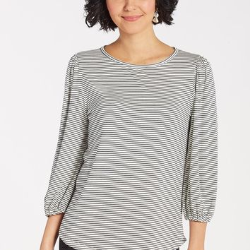Stripe Rib Lantern Sleeve Top by ALLISON JOY