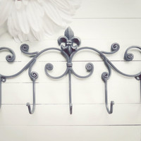Fleur De Lis Decor / Metal Wall Hanger / Wall Hook / Jewelry Rack / Towel Rack / Coat Hook / Gray Home Decor / Shabby Chic / French Decor