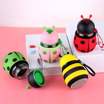 Penguin opening gift water cup portable lovely heat resistant ladybug cup cupping cup filter flower teacup 300ml