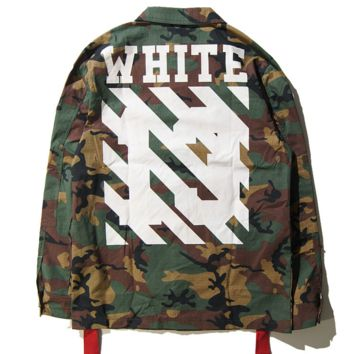 OFF-WHITE Women/Men Fashion Long Sleeve Camouflage Cowboy Coat