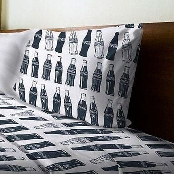 Coca Cola Coke Bottles Twin Sheet Set with Pillow Case