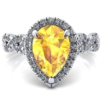 Delaney Pear Yellow Sapphire Halo Diamond 3/4 Infinity Eternity Ring